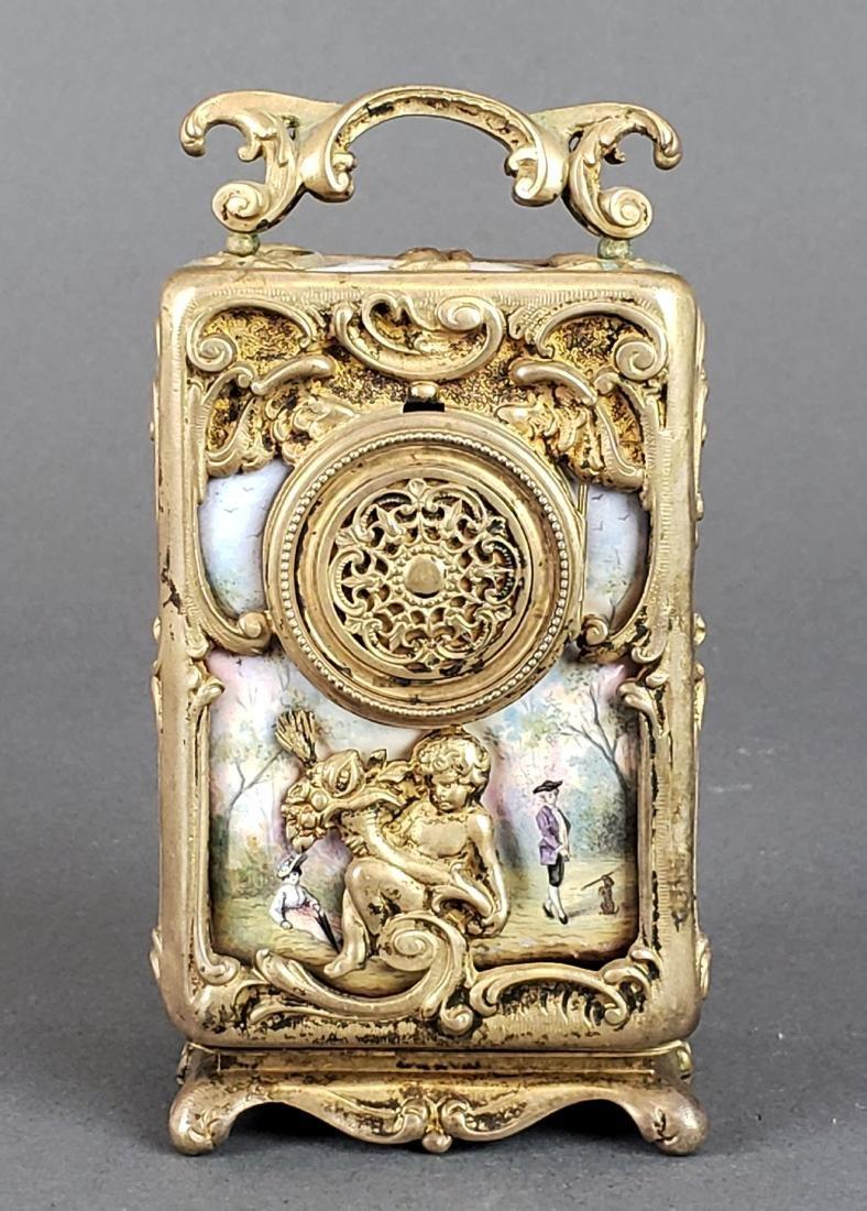 Viennese Enamel & Bronze Clockset - 3
