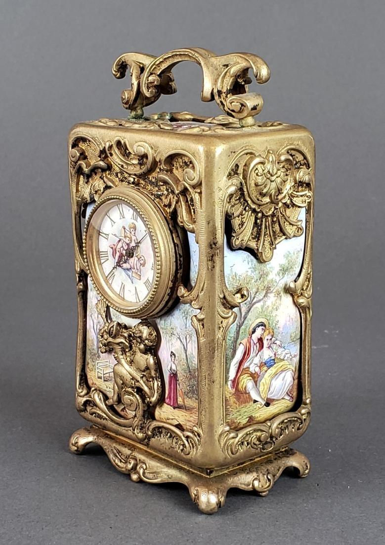 Viennese Enamel & Bronze Clockset - 4