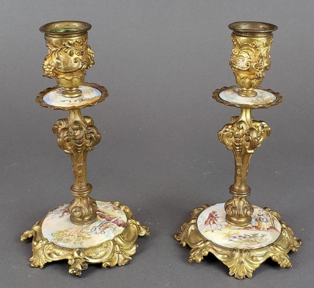 Viennese Enamel & Bronze Clockset - 5