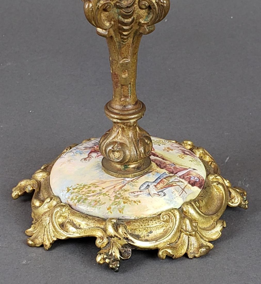 Viennese Enamel & Bronze Clockset - 6