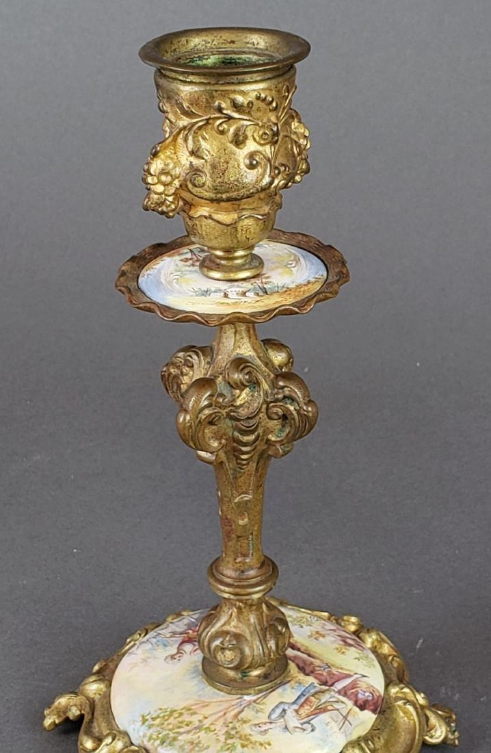 Viennese Enamel & Bronze Clockset - 7