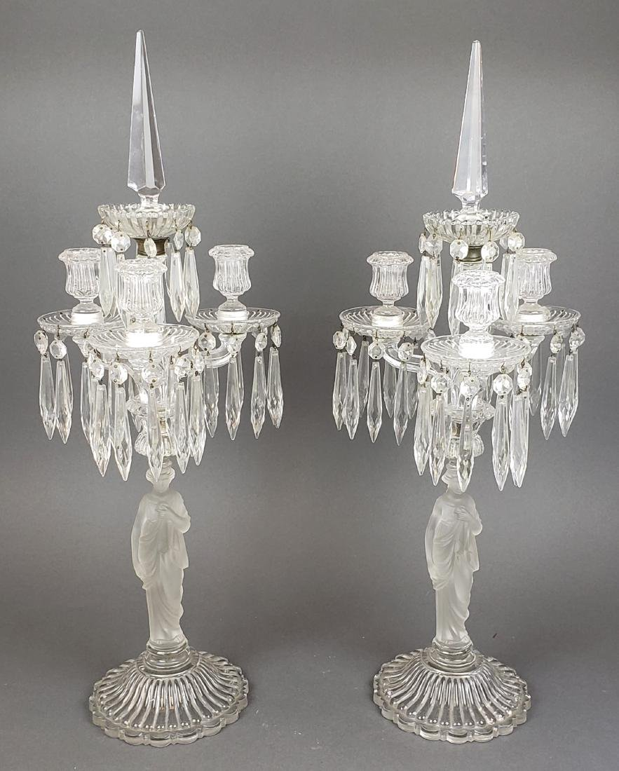 Pair of French Baccarat Crystal Figural Candelabras