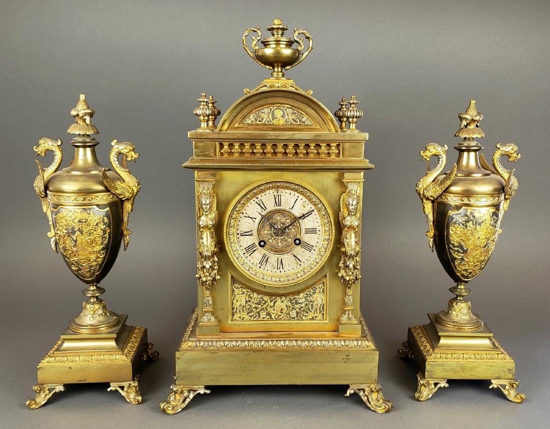 19th C. French Bronze Clockset