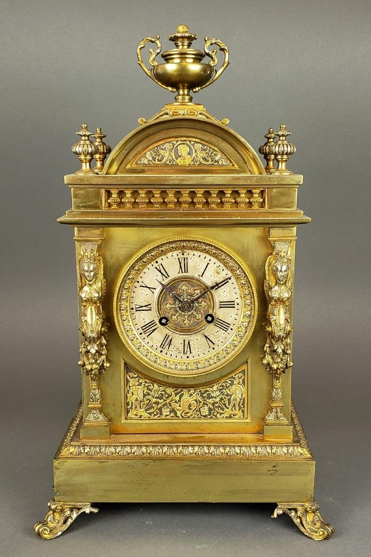 19th C. French Bronze Clockset - 2