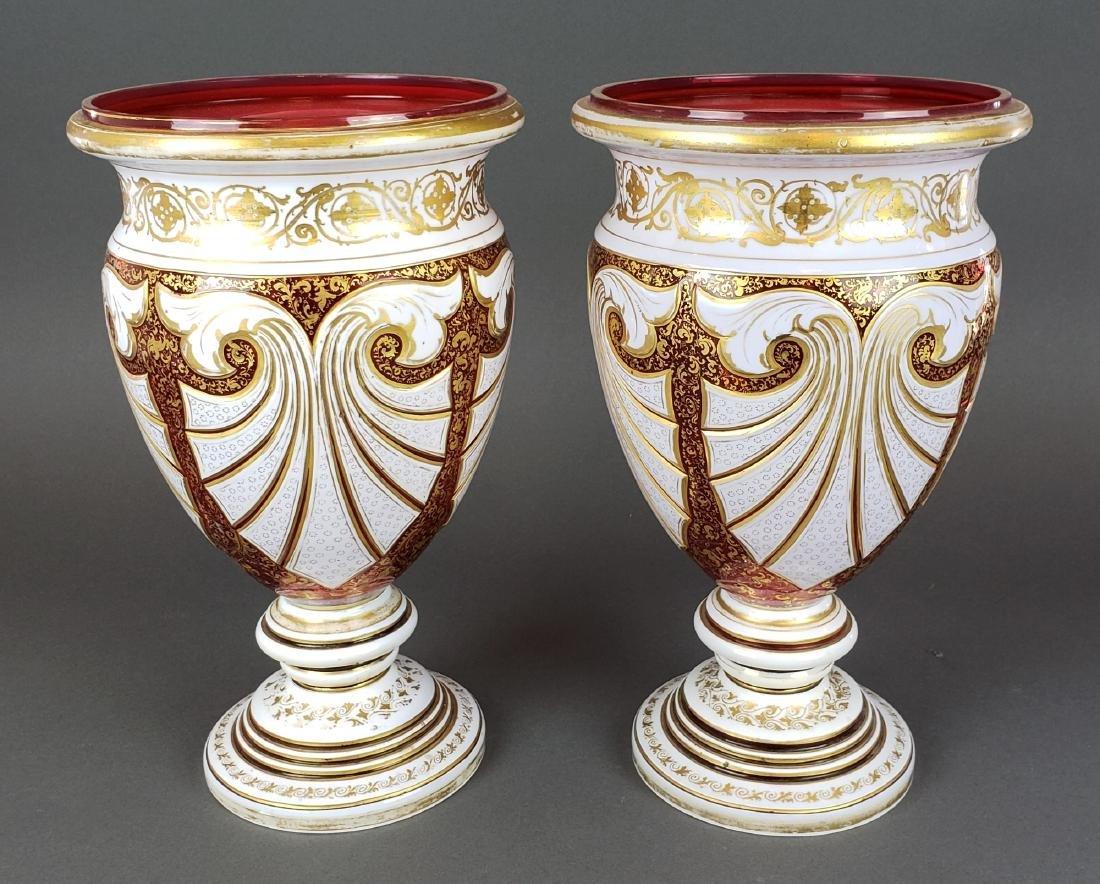 Pair of Large Bohemian Cut Vases