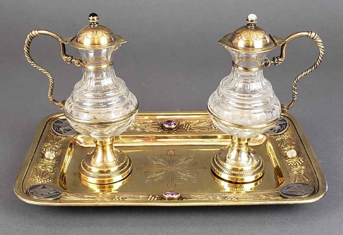 French Silver & Crystal Cruet Set