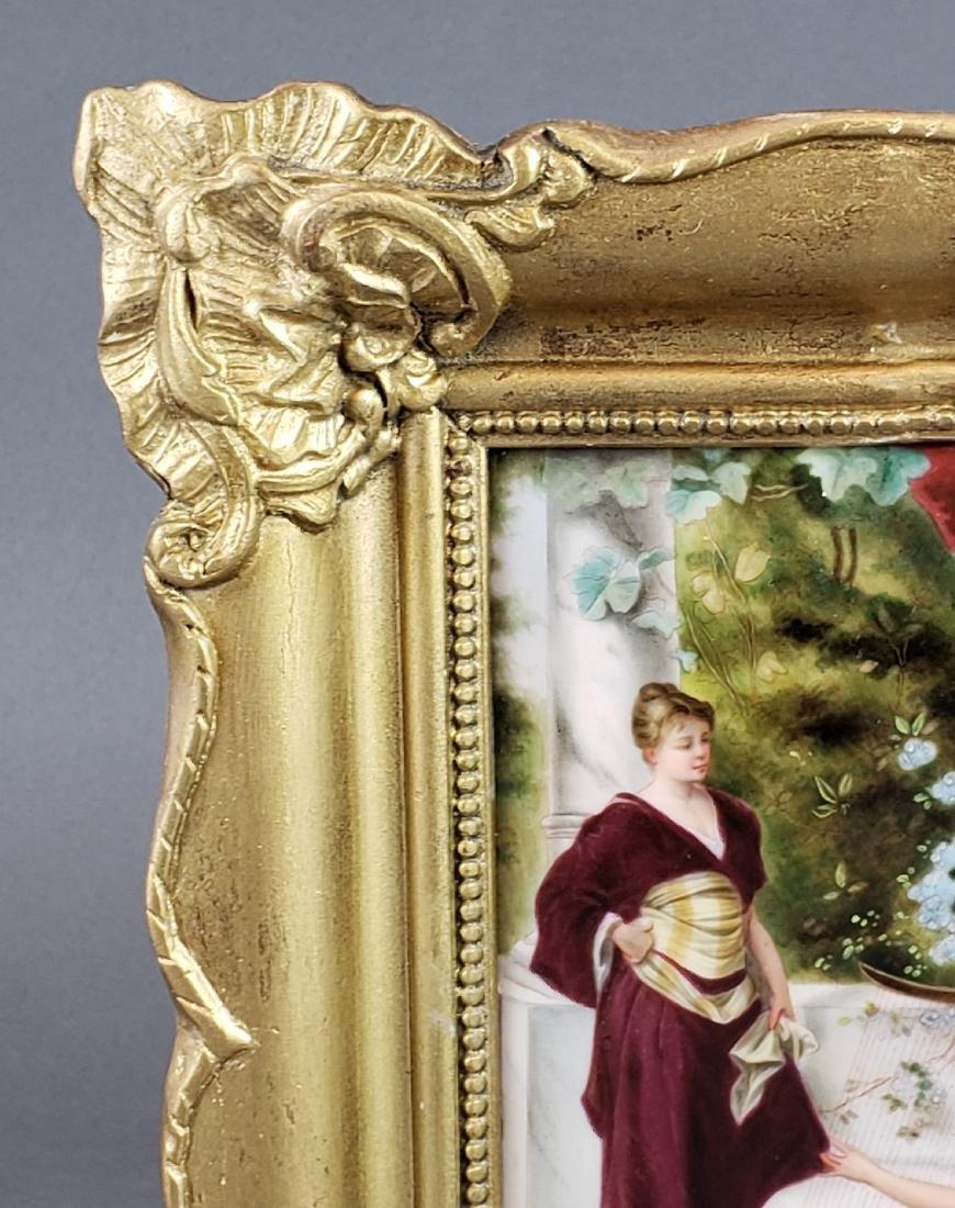 Antique Framed German Porcelain Plaque - 3