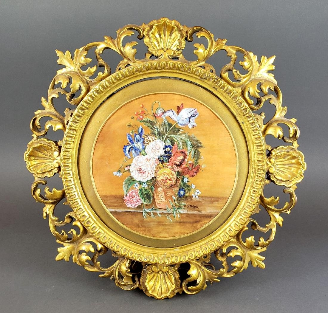 19th C. Framed Floral Painting Signed G. Stokes