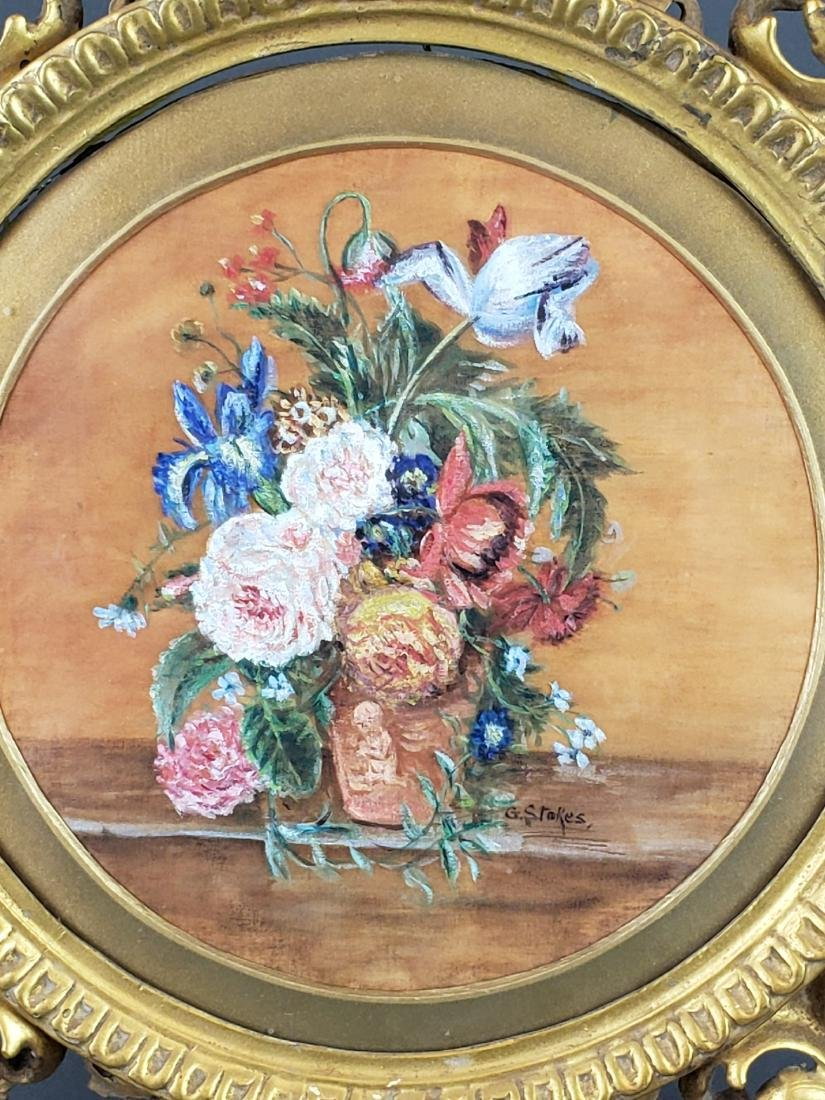 19th C. Framed Floral Painting Signed G. Stokes - 2