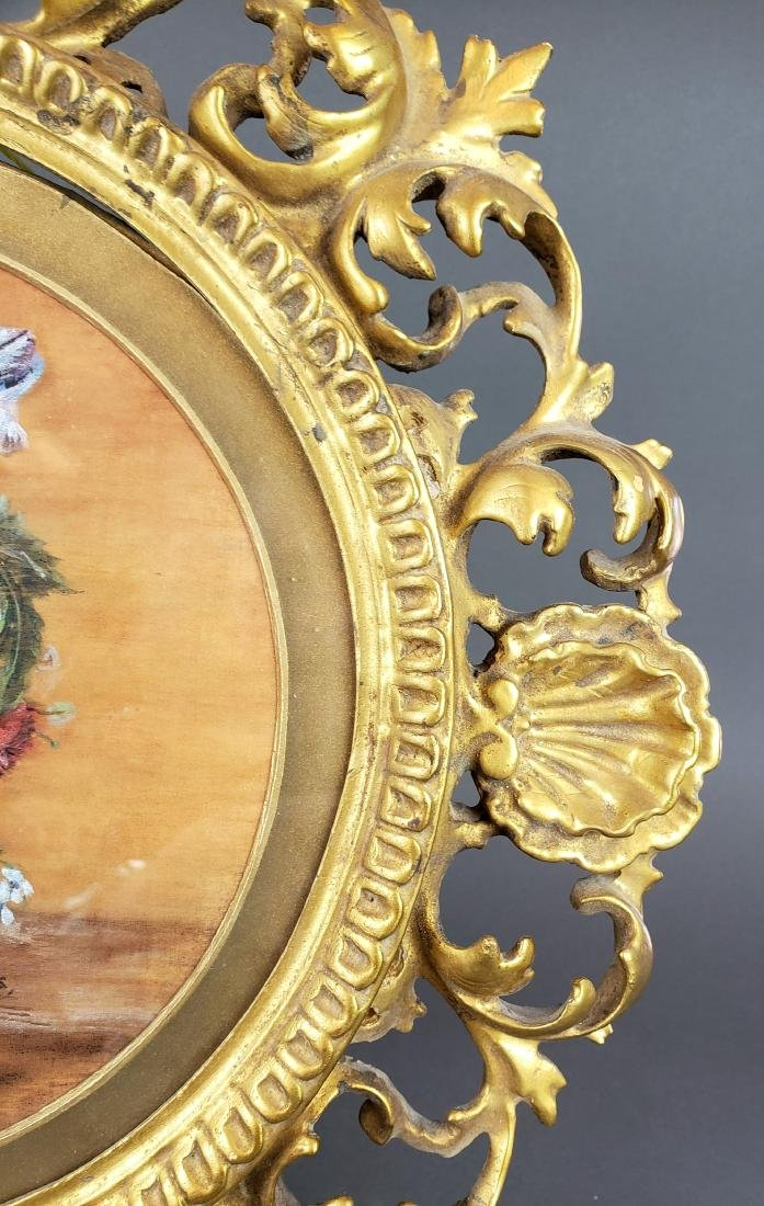 19th C. Framed Floral Painting Signed G. Stokes - 5