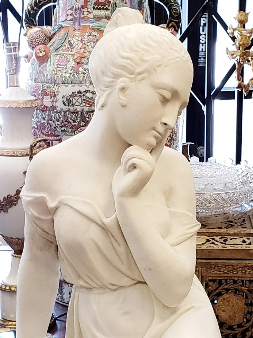 19th C. Large Marble Figure of Woman - 2