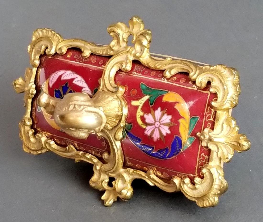 French Enamel & Bronze Paper weight - 3