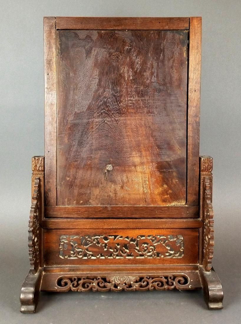 19th C. Chinese Hand Carved Table Screen - 4