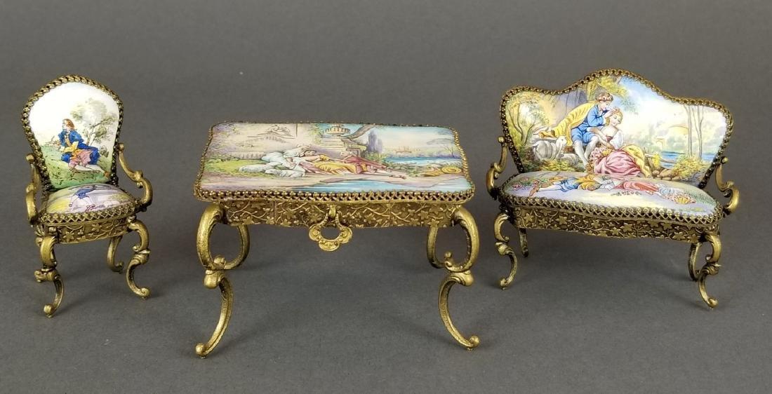 Set of 3 Viennese Enamel Furniture Pieces