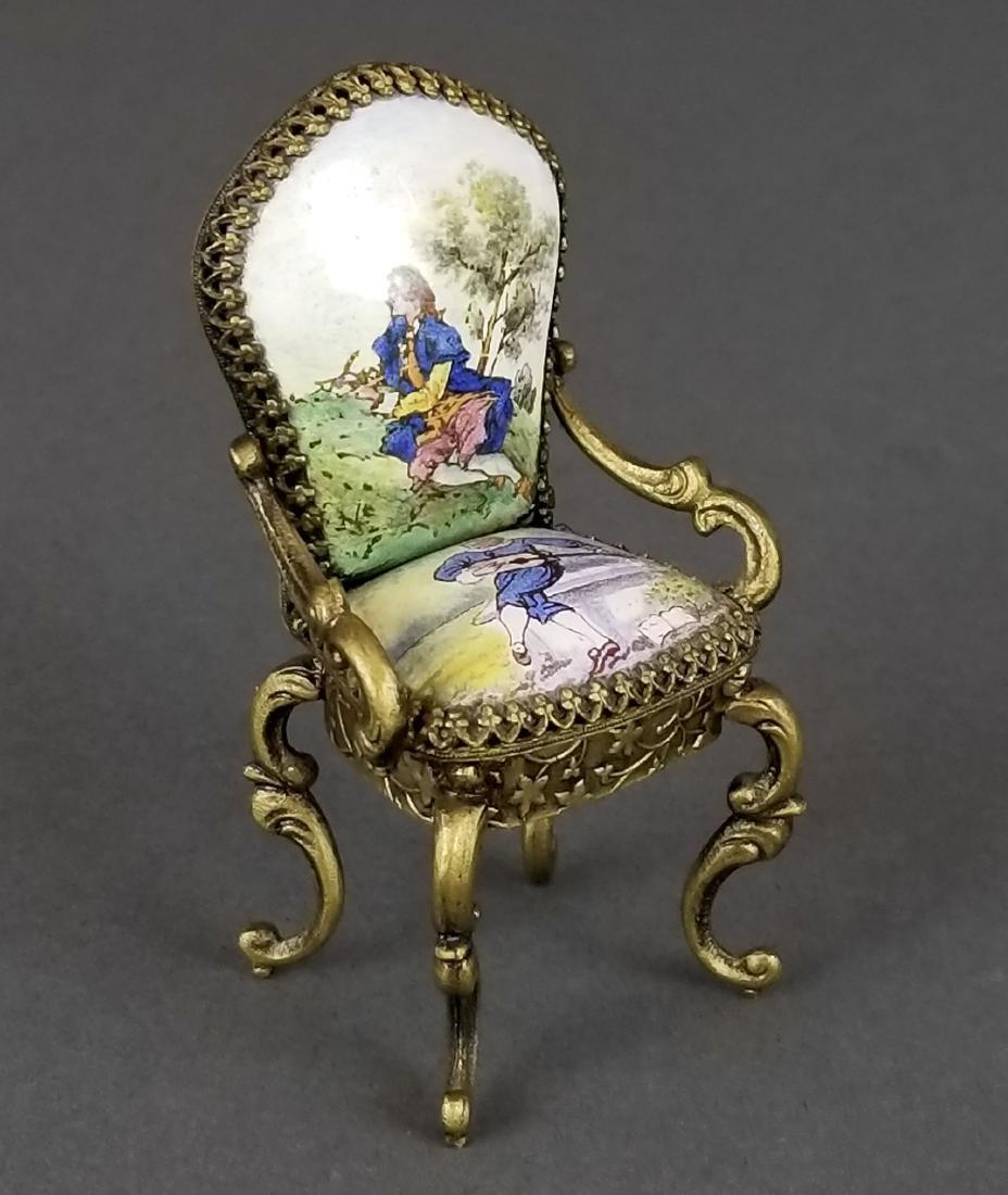 Set of 3 Viennese Enamel Furniture Pieces - 2