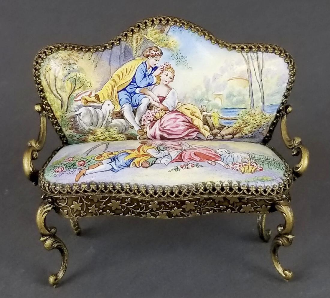 Set of 3 Viennese Enamel Furniture Pieces - 4