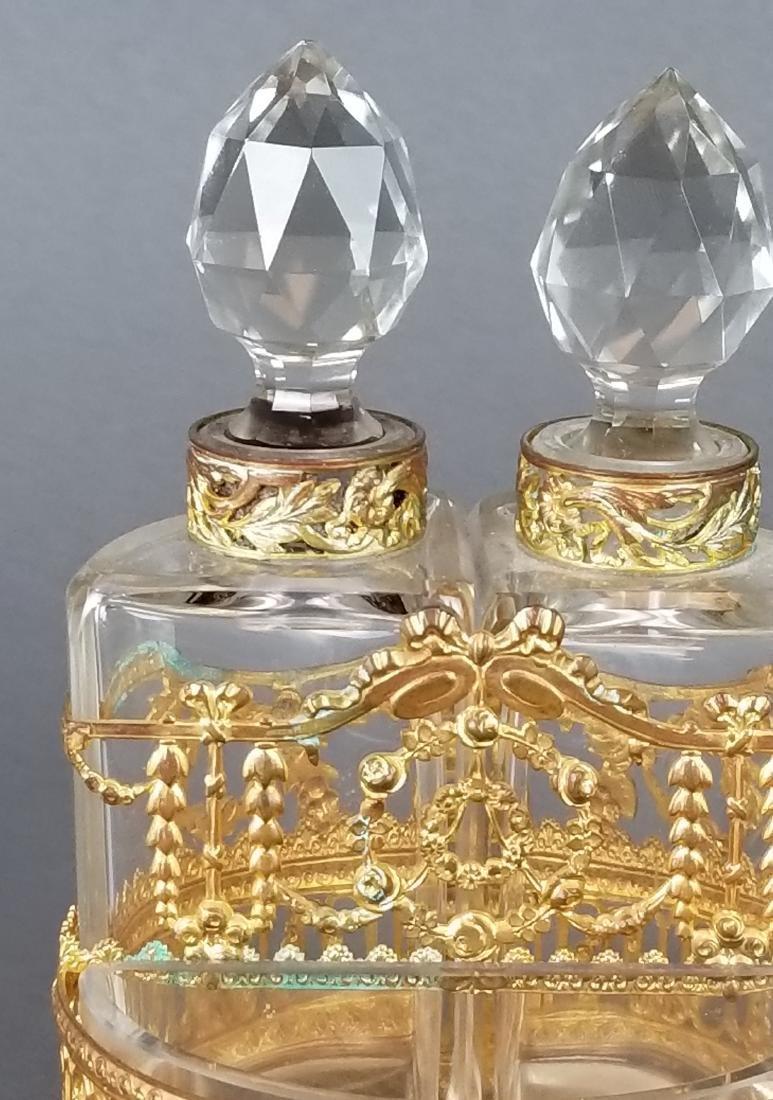 19th C. Bronze & Baccarat Perfume Bottles - 2
