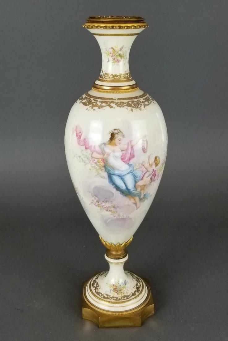 French Sevres Style Bronze & Porcelain Vase