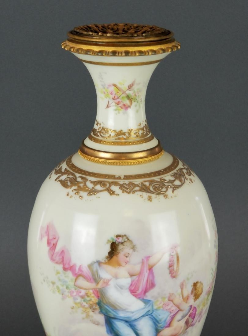 French Sevres Style Bronze & Porcelain Vase - 3