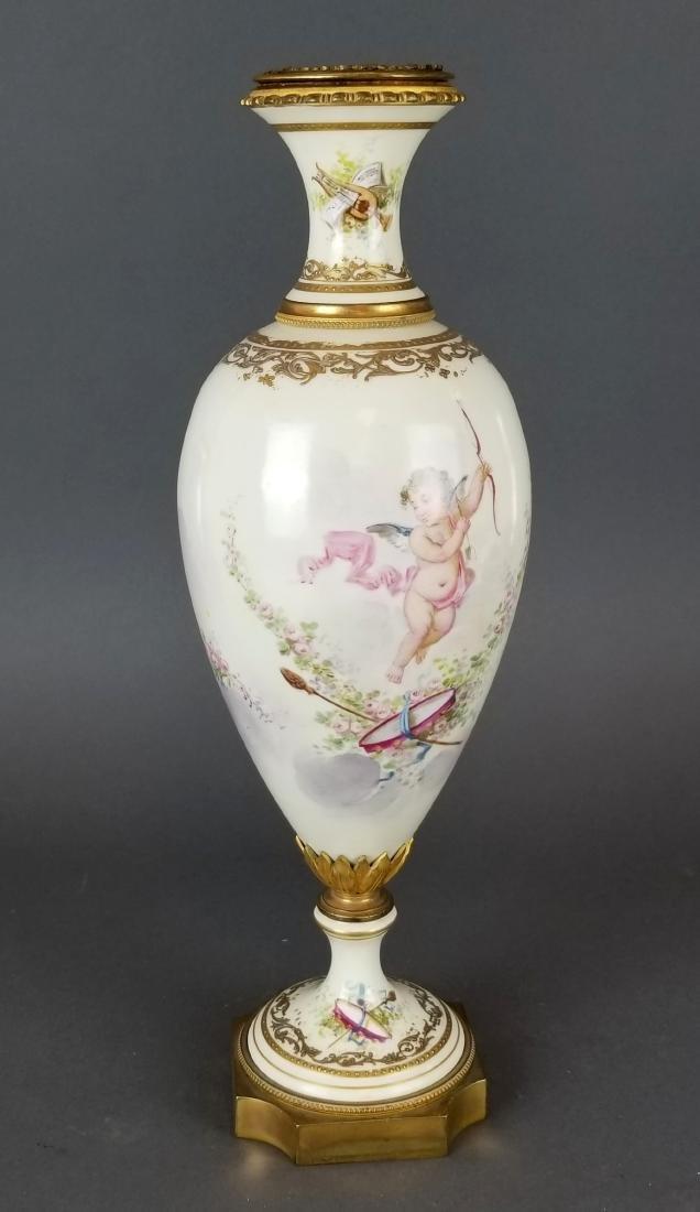 French Sevres Style Bronze & Porcelain Vase - 5