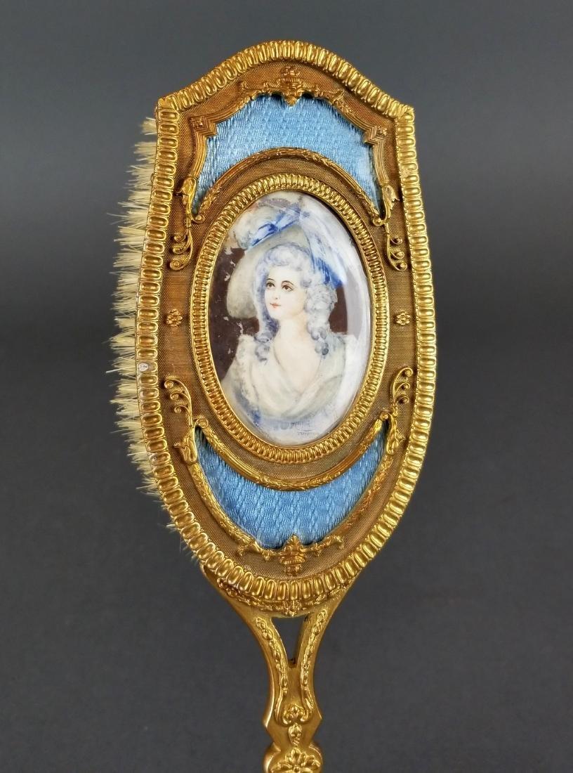 19th C. French Bronze & Enamel Salon Brush - 2