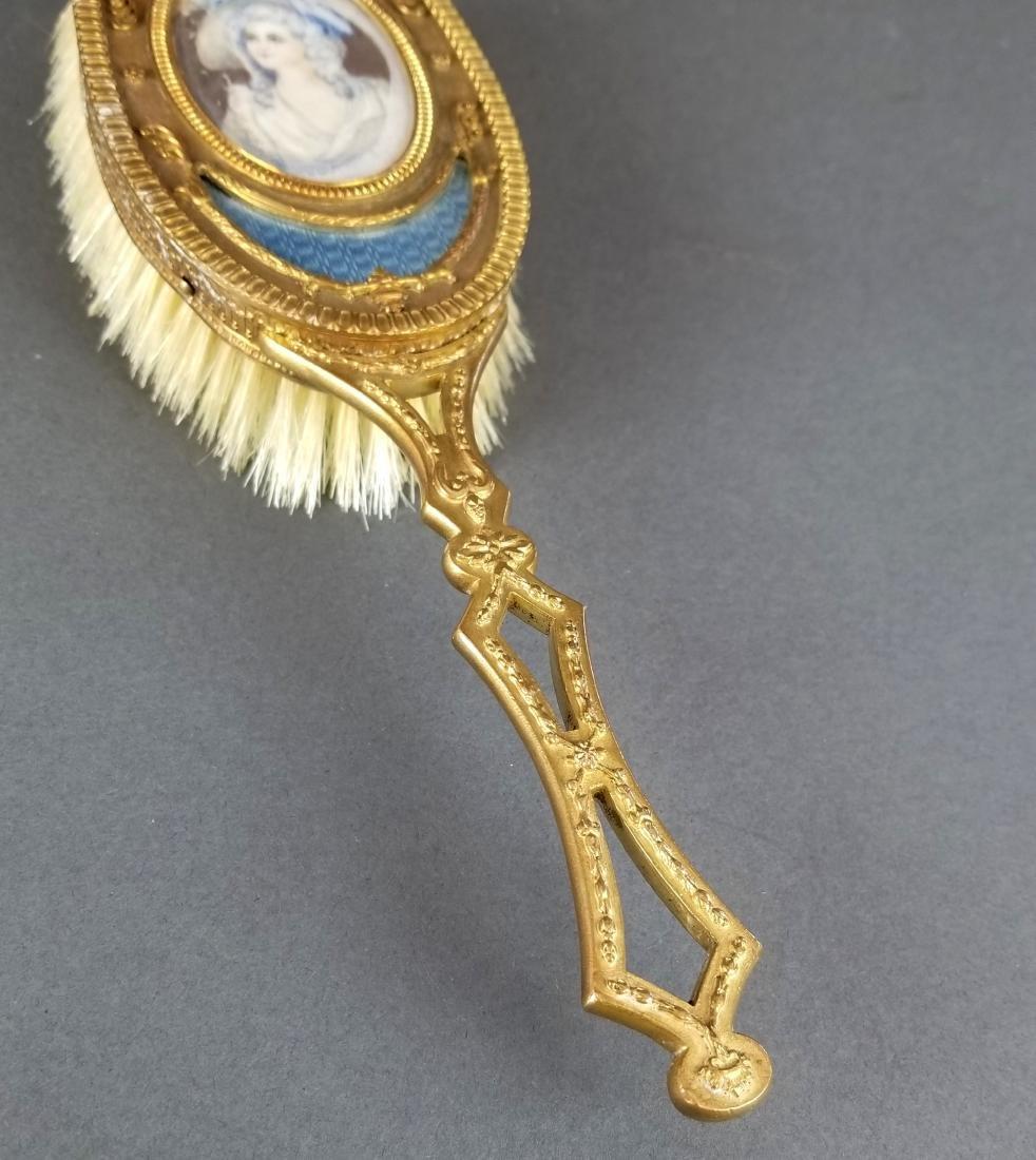19th C. French Bronze & Enamel Salon Brush - 3