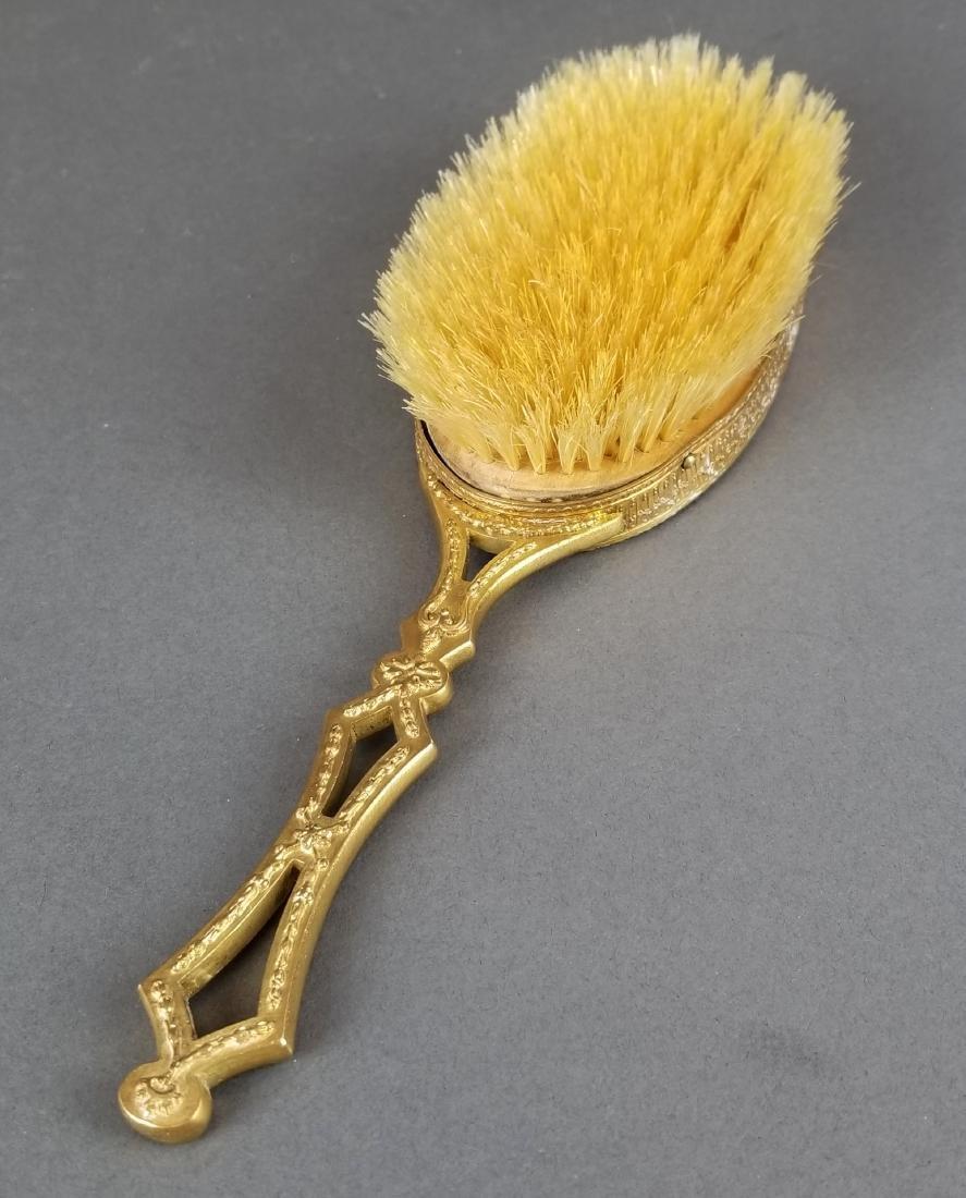 19th C. French Bronze & Enamel Salon Brush - 4