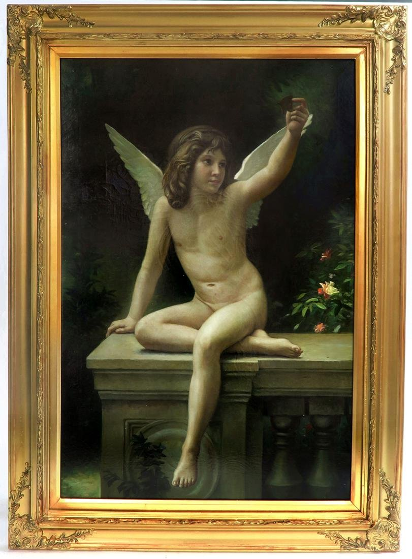 Continantal Oil On Canvas Young Angel in Garden