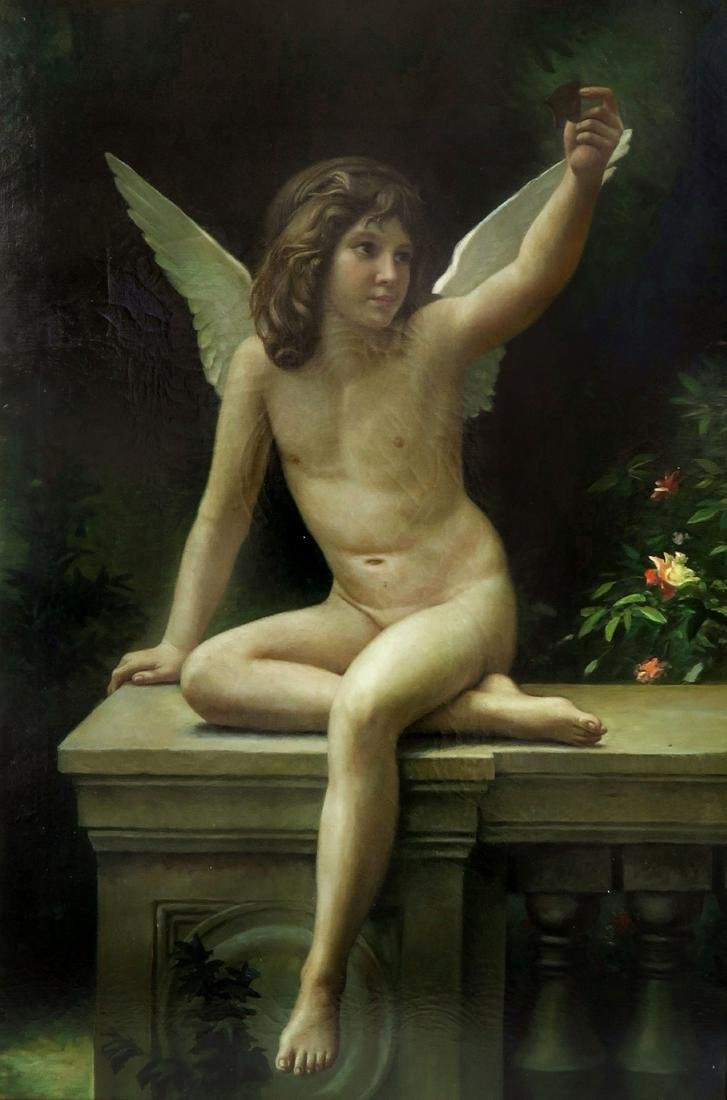 Continantal Oil On Canvas Young Angel in Garden - 2