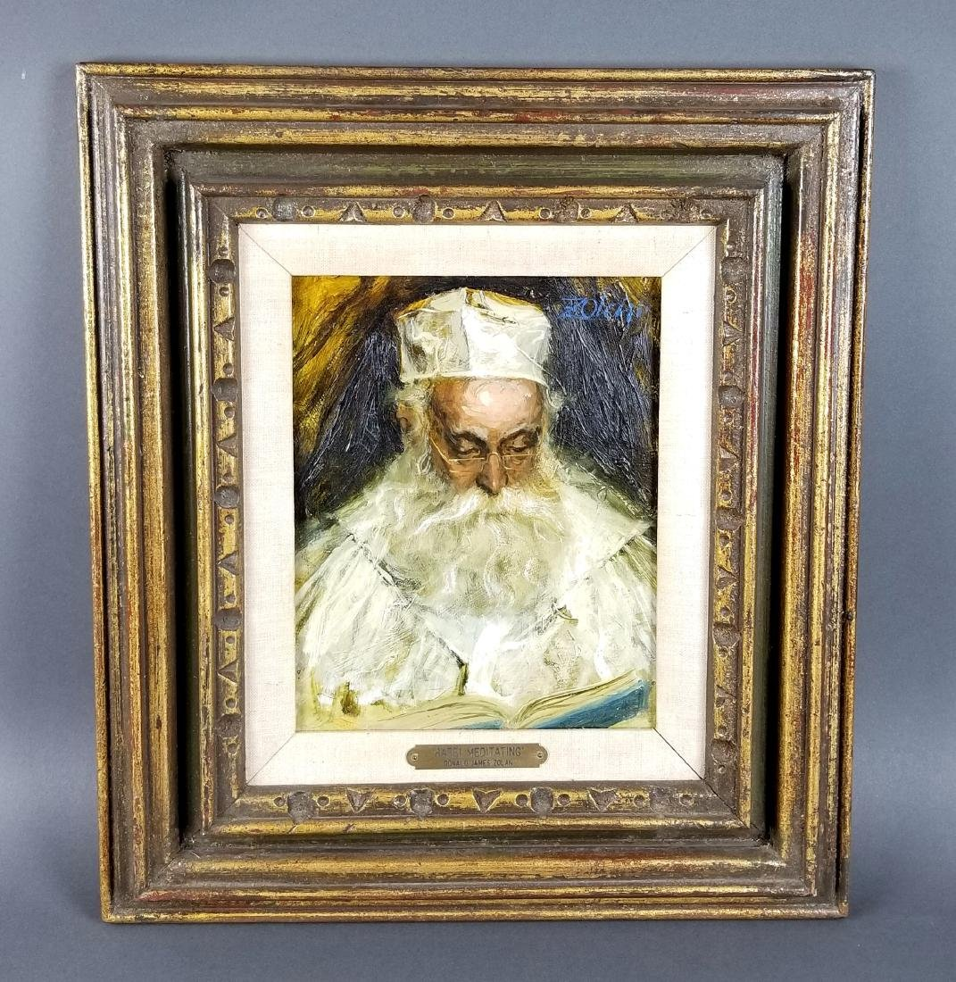 "Framed Oil on Canvas ""Rabbi Meditating"" by Donald James"