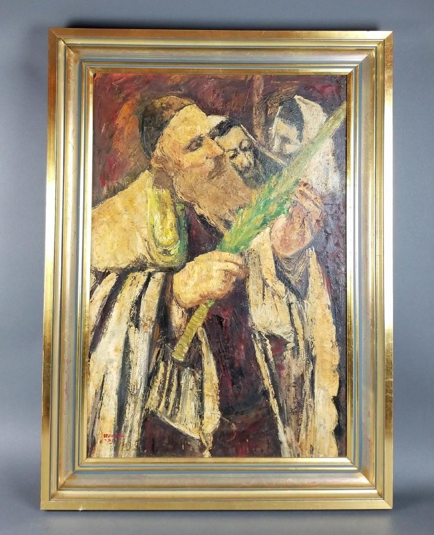 "Framed Oil on Canvas ""Rabbi checking his Lulav on"