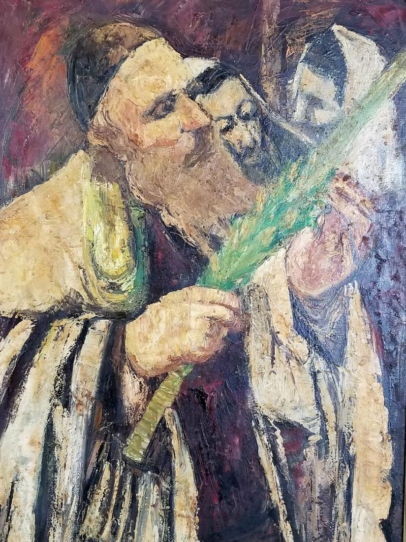 "Framed Oil on Canvas ""Rabbi checking his Lulav on - 2"