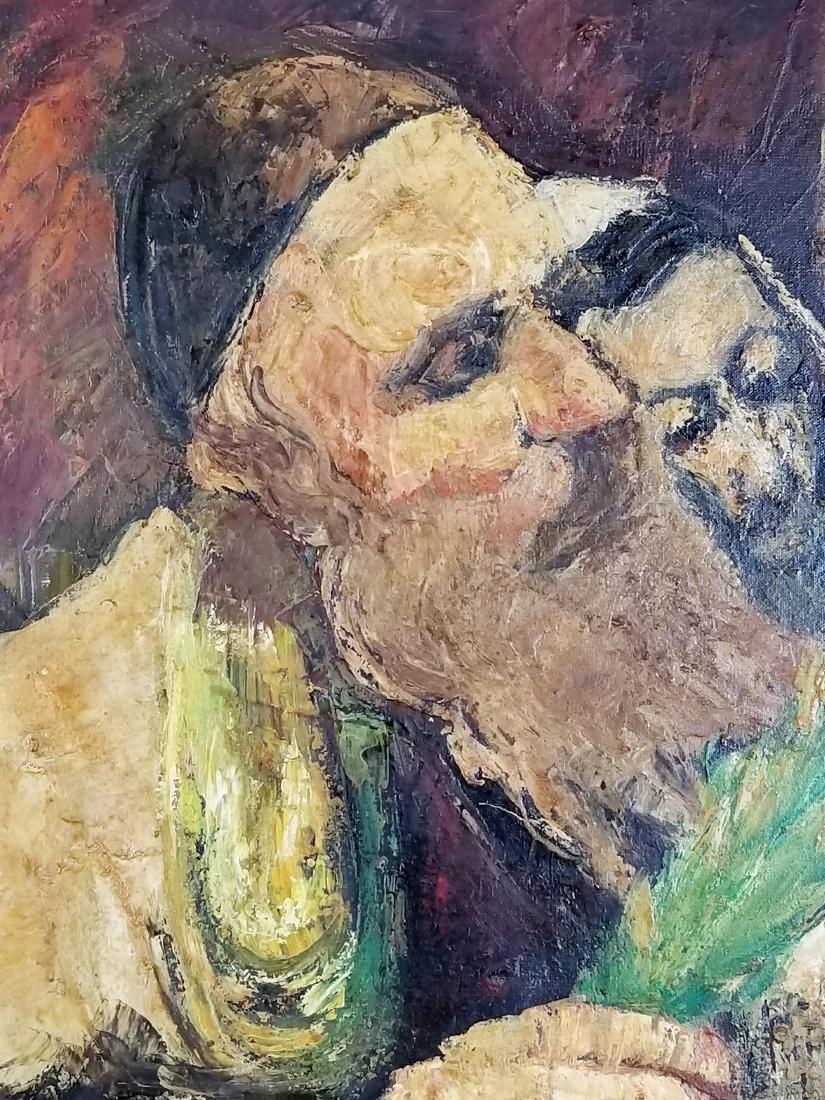 "Framed Oil on Canvas ""Rabbi checking his Lulav on - 3"