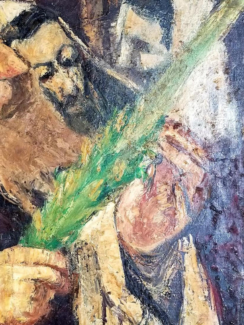 "Framed Oil on Canvas ""Rabbi checking his Lulav on - 4"