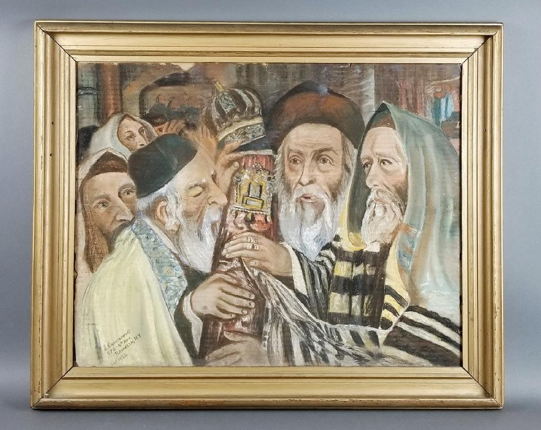 "Framed Glosh Pencil on Paper ""Rabbi Kissing Torah in"