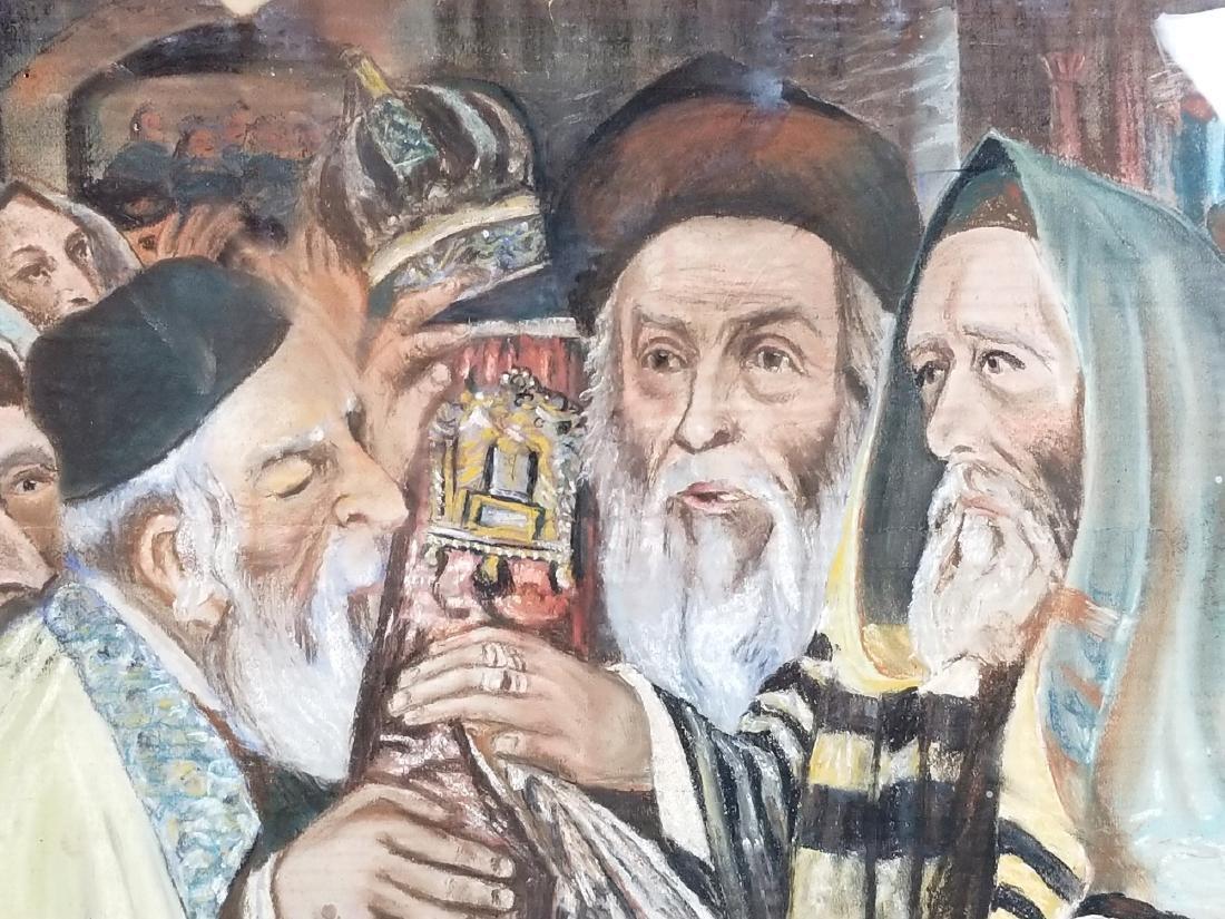 "Framed Glosh Pencil on Paper ""Rabbi Kissing Torah in - 2"