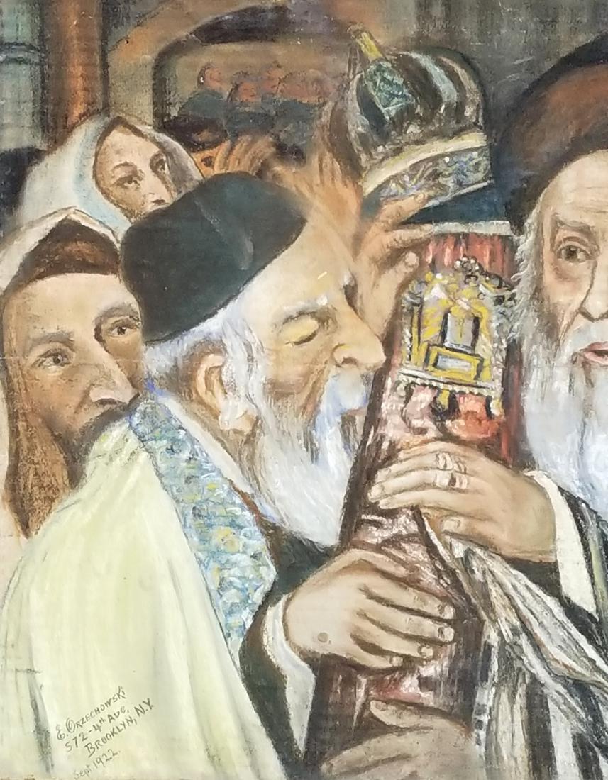 "Framed Glosh Pencil on Paper ""Rabbi Kissing Torah in - 3"
