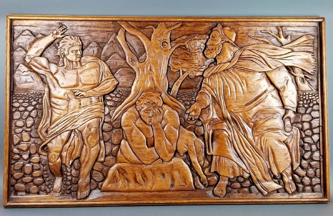 "Large Carved Wood Biblical Frame ""Michael Angelo"