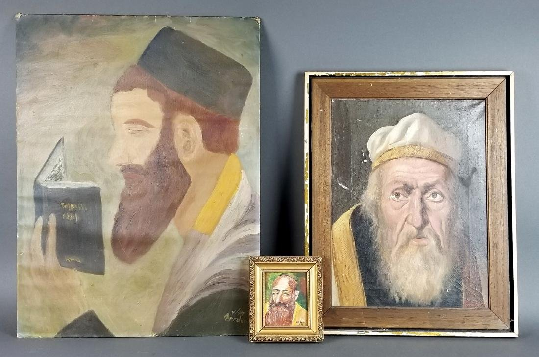 Lot of 3 Rabbi Paintings, 2 on Board 1 on Canvas