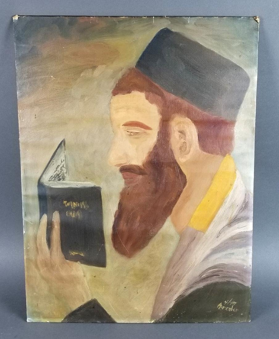 Lot of 3 Rabbi Paintings, 2 on Board 1 on Canvas - 2