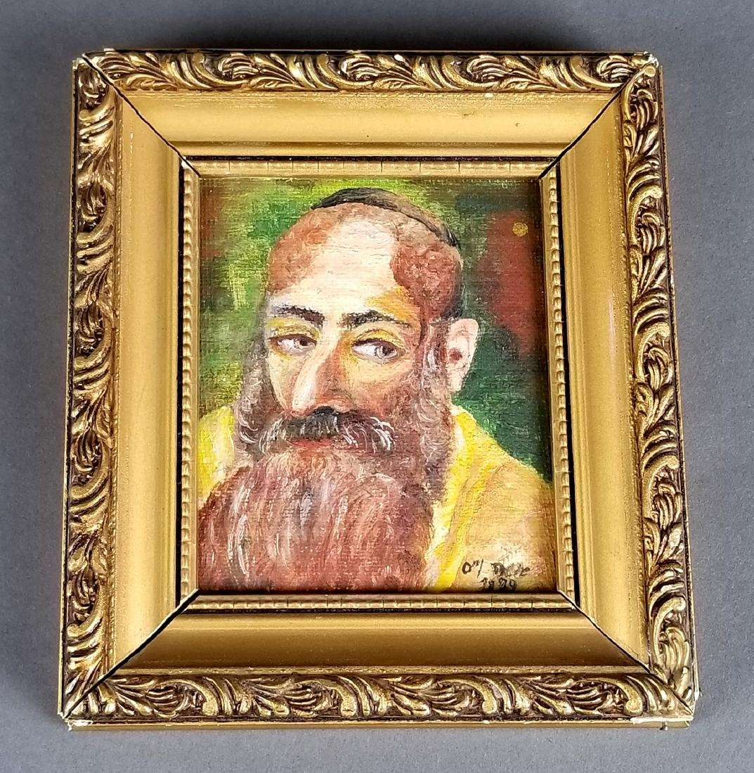 Lot of 3 Rabbi Paintings, 2 on Board 1 on Canvas - 7