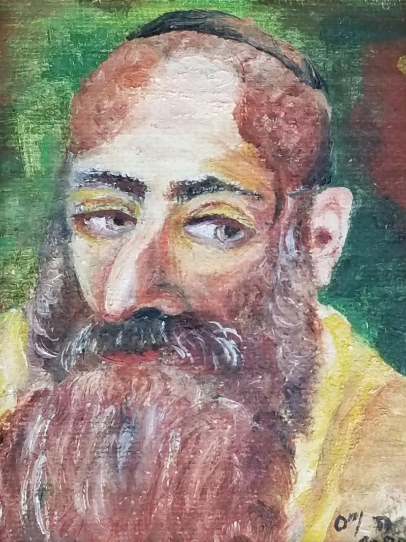 Lot of 3 Rabbi Paintings, 2 on Board 1 on Canvas - 8