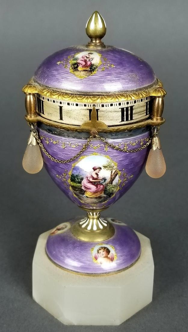 French Purple Enamel Miniature Rotary Clock