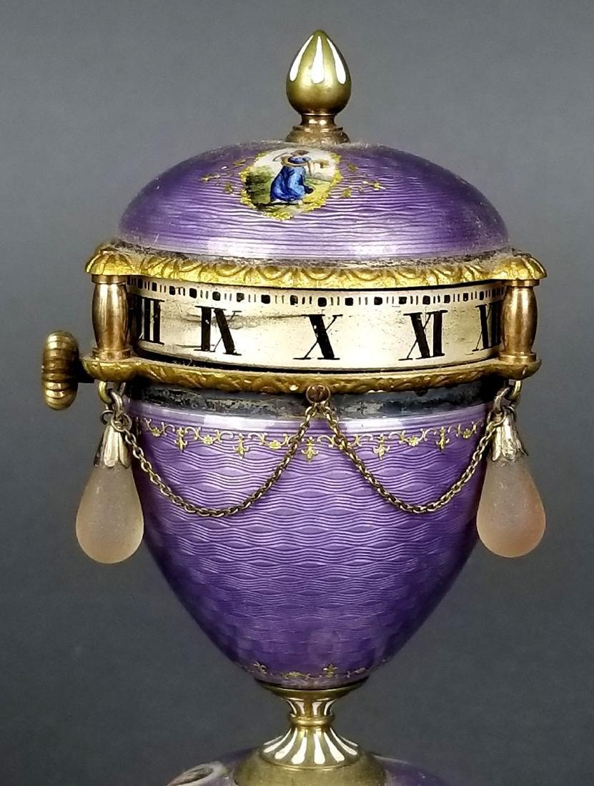 French Purple Enamel Miniature Rotary Clock - 3