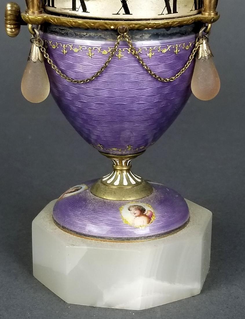 French Purple Enamel Miniature Rotary Clock - 4