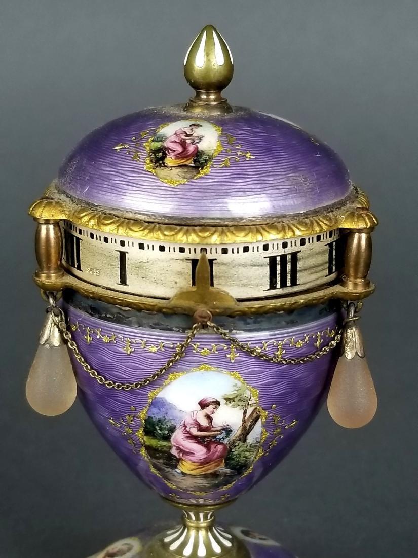 French Purple Enamel Miniature Rotary Clock - 5