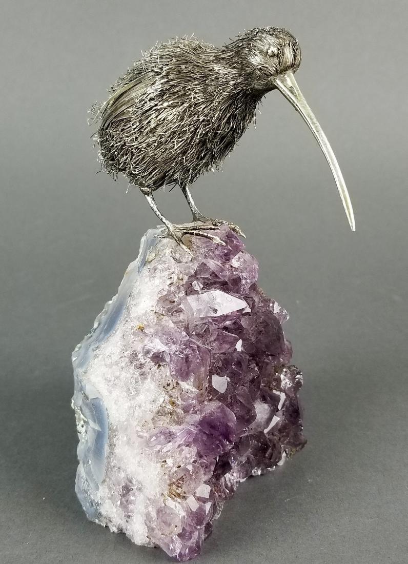 Buccellati Sterling Silver Kiwi Bird on Amethyst Stone