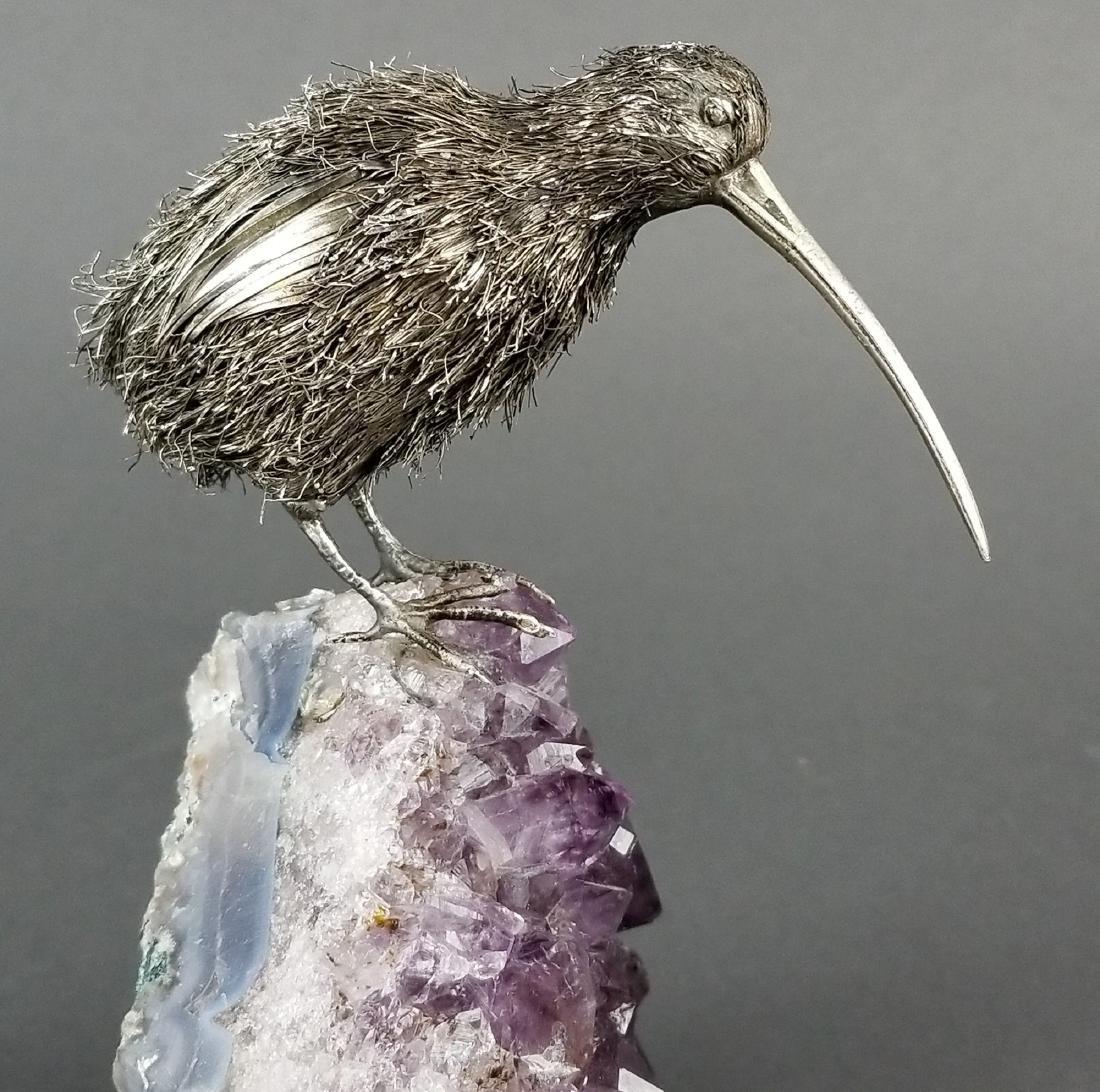 Buccellati Sterling Silver Kiwi Bird on Amethyst Stone - 2