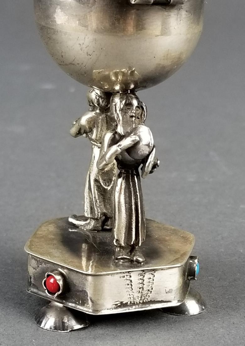 Russian Silver Jewlled Salt Cellar - 3