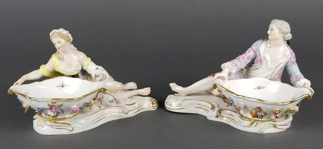Pair of 19th C. Meissen Sweet Meat Figural Dishes